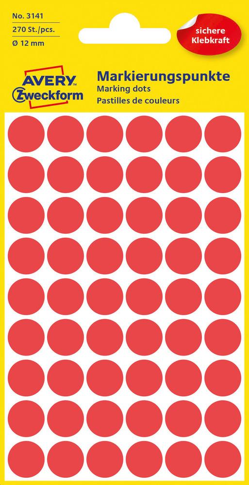 3141 Etykiety Avery Zweckfrom kółka o średnicy 12mm czerwone
