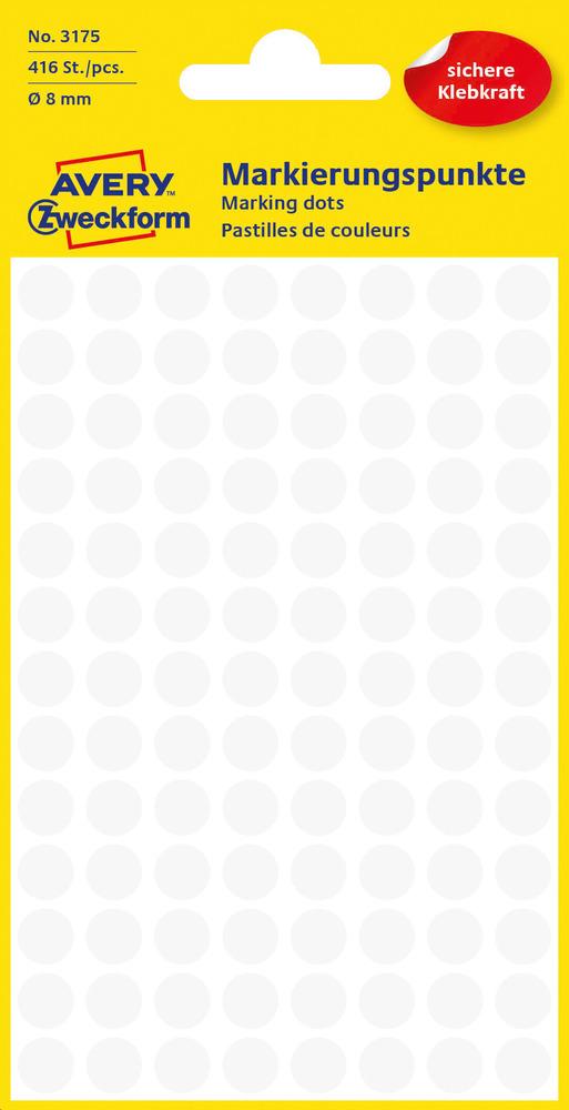3175 Etykiety Avery Zweckfrom kółka do zaznaczania o średnicy 8mm białe