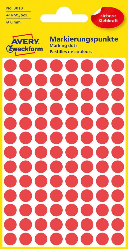 3010 Etykiety Avery Zweckfrom kółka do zaznaczania o średnicy 8mm czerwone