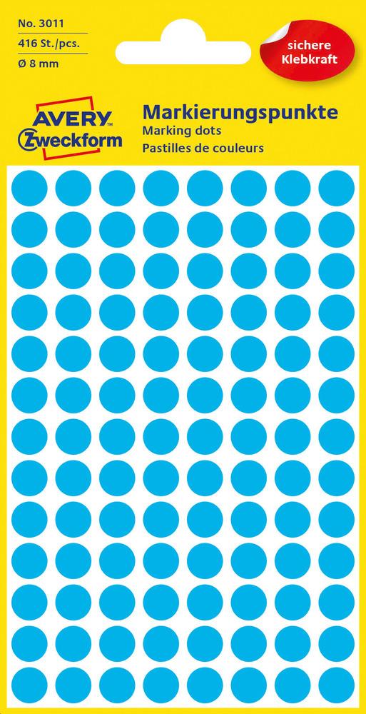 3011 Avery Zweckform Kółka do zaznaczania o średnicy 8mm niebieskie
