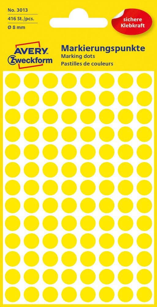 3013 Etykiety Avery Zweckfrom kółka do oznaczania o średnicy 8mm żółte