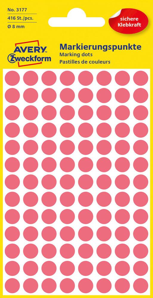3177 Etykiety Avery Zweckfrom kółka o średnicy 8mm czerwone neonowe
