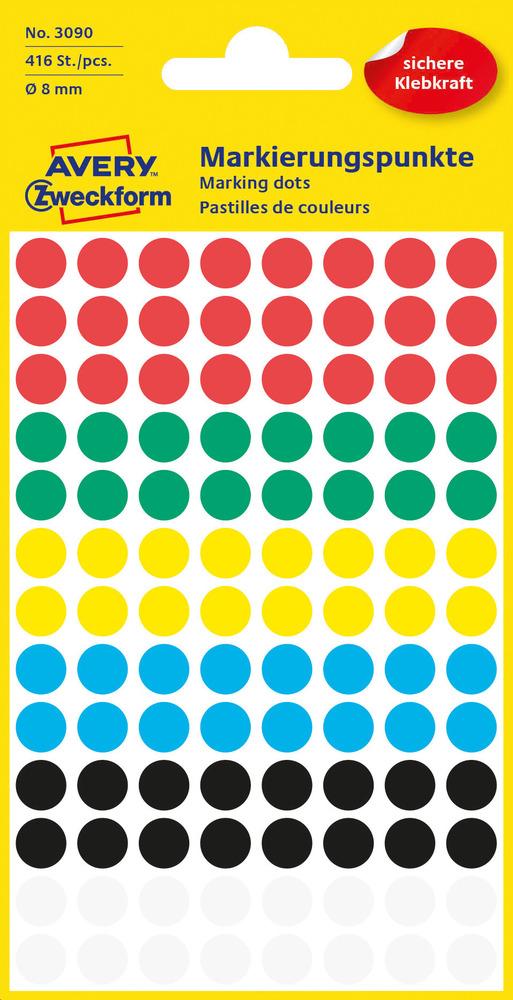 3090 Etykiety Avery Zweckfrom kółka o średnicy 8mm mix kolor