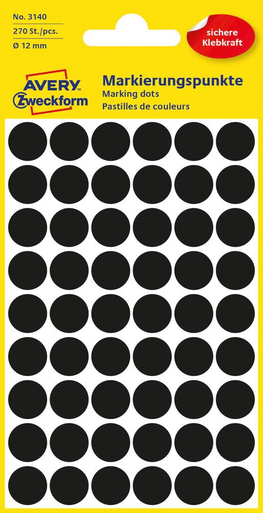 3140 Etykiety Avery Zweckfrom kółka do zaznaczania o średnicy 12mm czarne