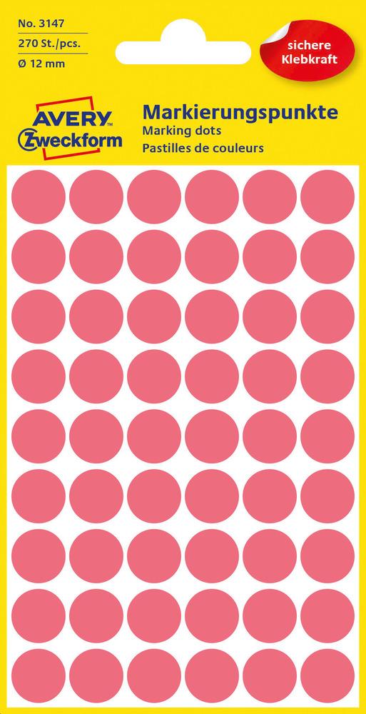 3147 Etykiety Avery Zweckfrom kółka do oznaczania o średnicy 12mm czerwone neono