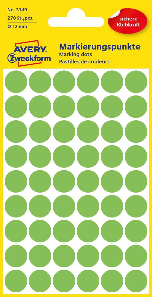 3149 Etykiety Avery Zweckfrom kółka o średnicy 12mm zielone neonowe