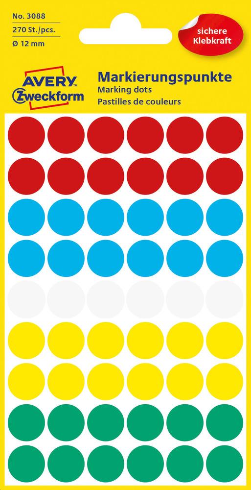 3088 Etykiety Avery Zweckfrom kółka o średnicy 12mm mix kolor