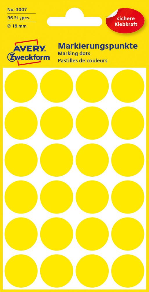 3007 Etykiety Avery Zweckfrom kółka do oznaczania o średnicy 18mm żółte