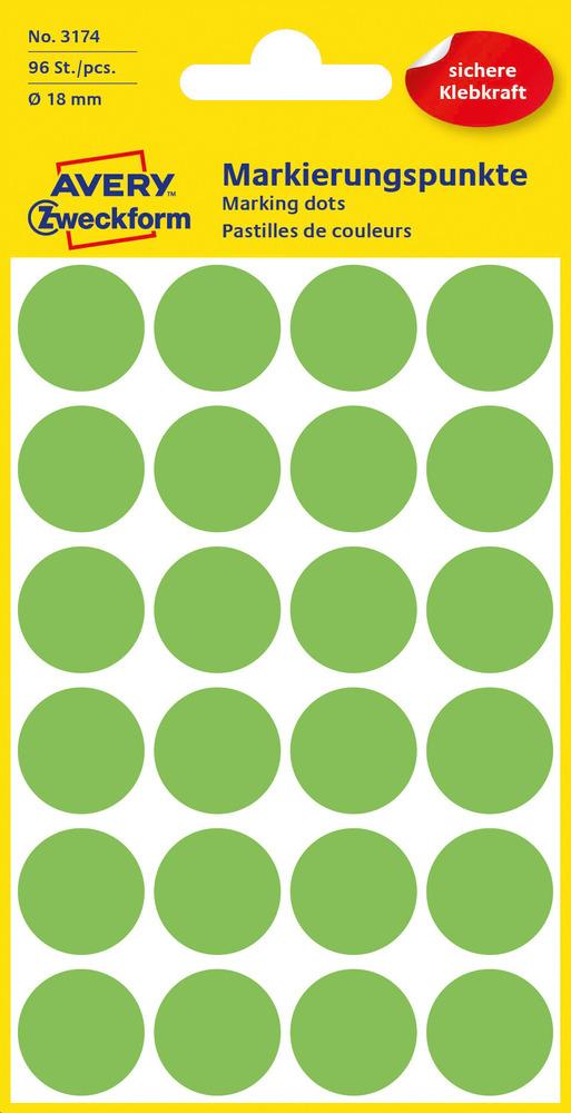 3174 Etykiety Avery Zweckfrom kółka o średnicy 18mm zielone neonowe